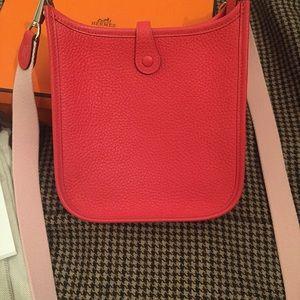 8d4f9298f495 Hermes Bags - HERMES Evelyne Mini Sakura Rose Jaipur Rouge Bag